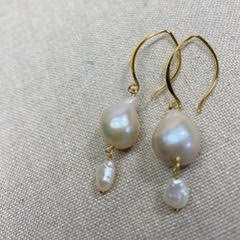 Karen Haas Large Freshwater Flame and Keshi Pearl Earrings