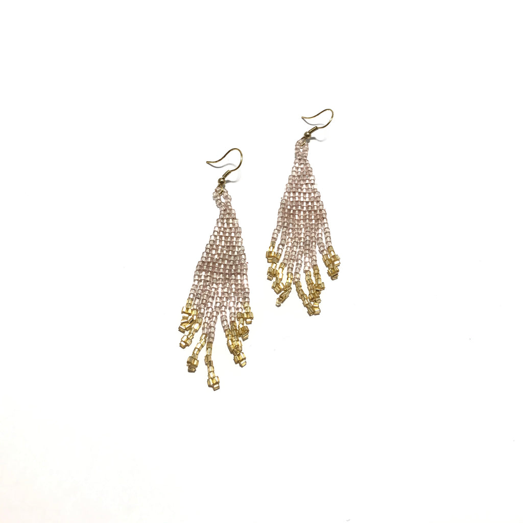 Ink + Alloy Blush and Gold Fringe Earring