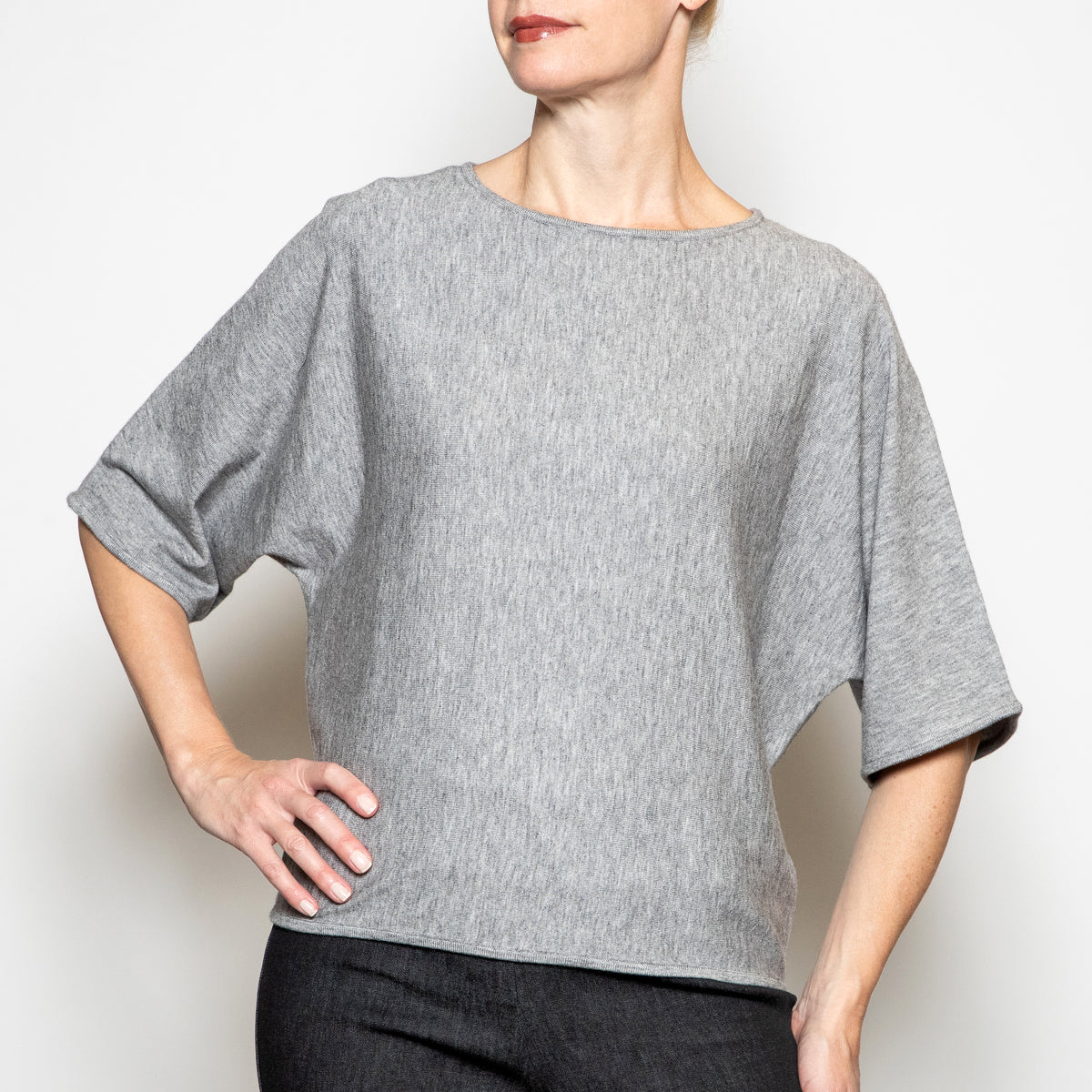 Apricot Easy Sweater in Light Grey