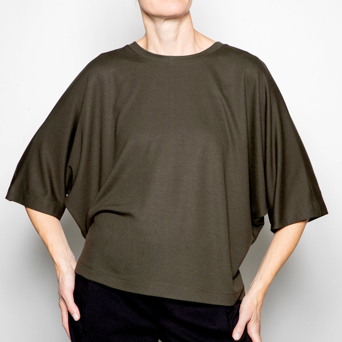 Ever Sassy Jersey Top in Forest