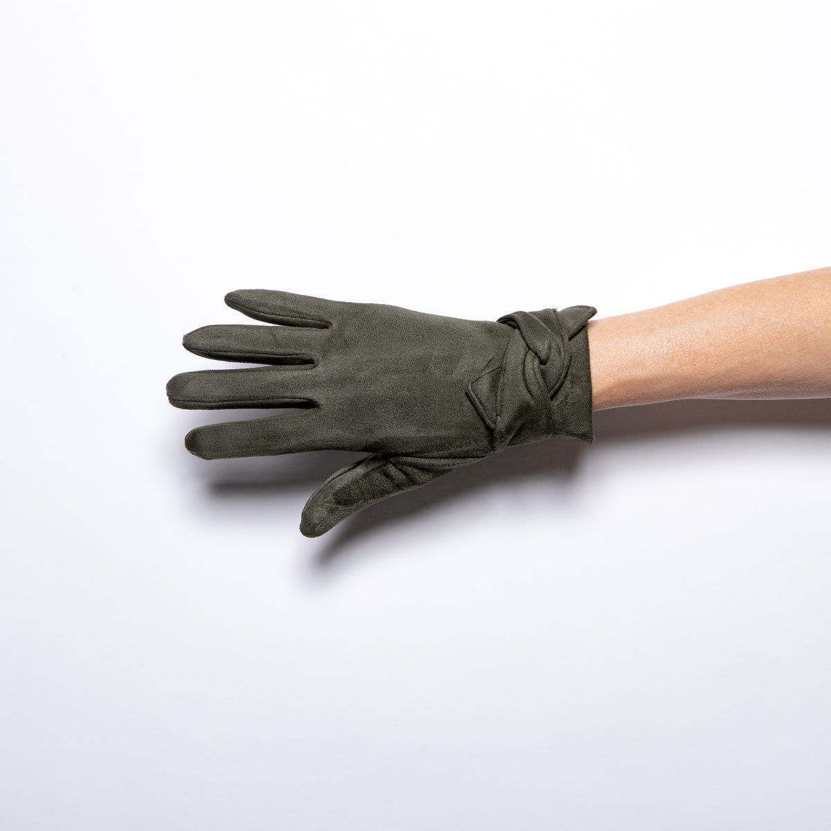 Jeanne Simmons Knot Trim Glove in Olive
