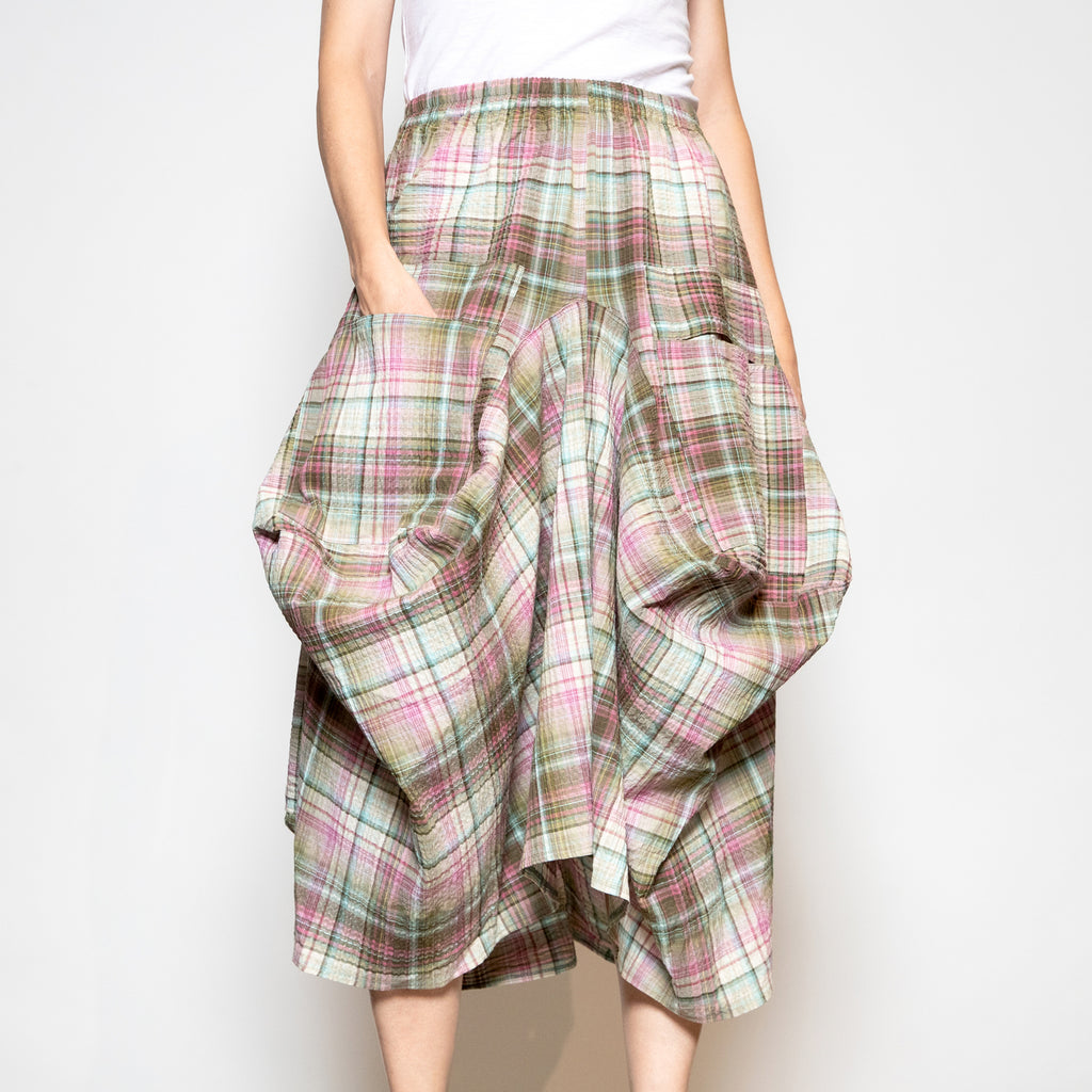 Hanna For La Journee 2 Pocket Skirt in Pink and Green Plaid