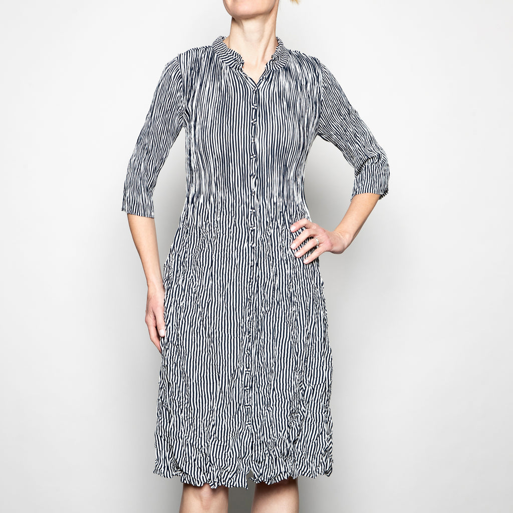 Alquema Nehru Coat Dress in Indigo Stripe
