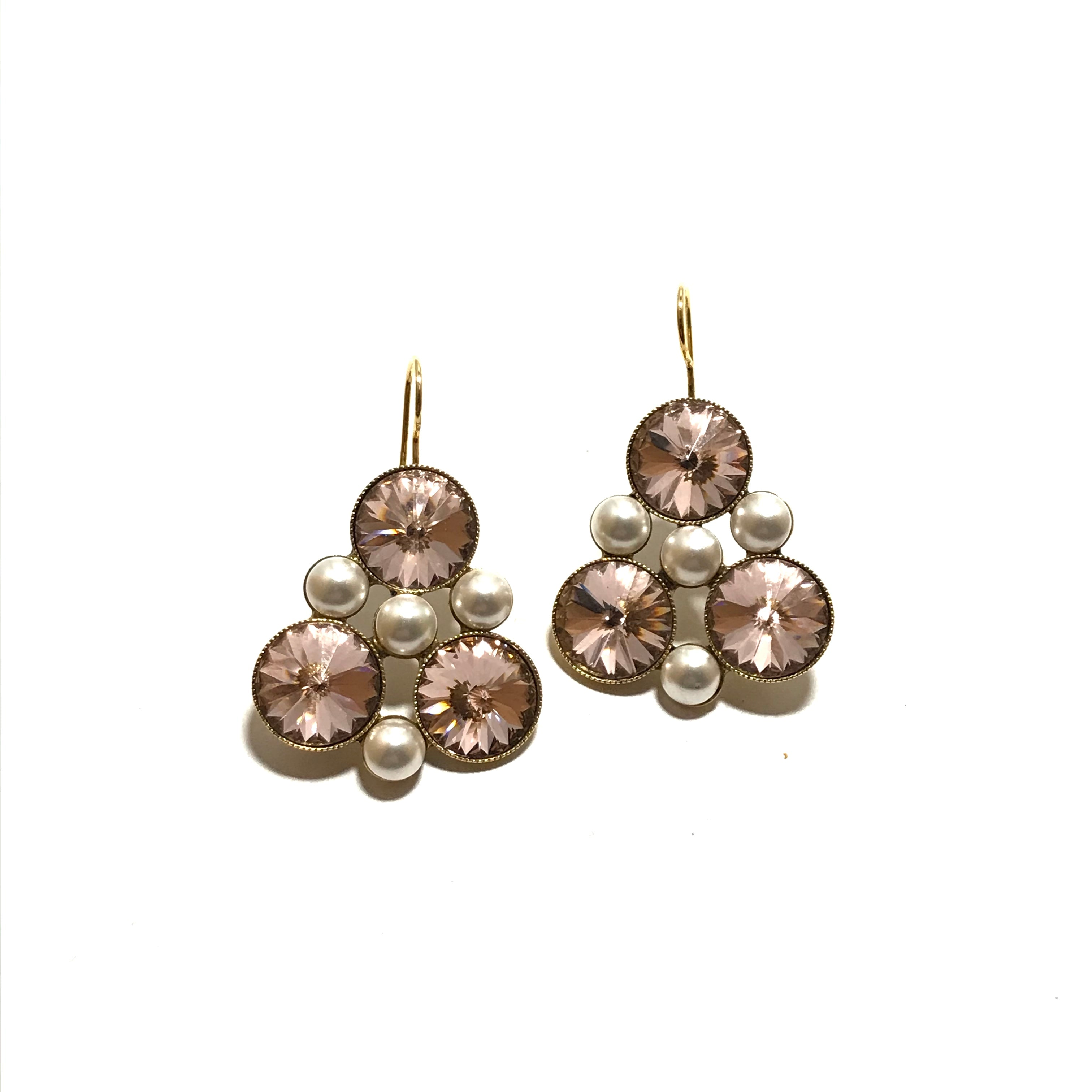 Tova-Button Earring in Astral Pink