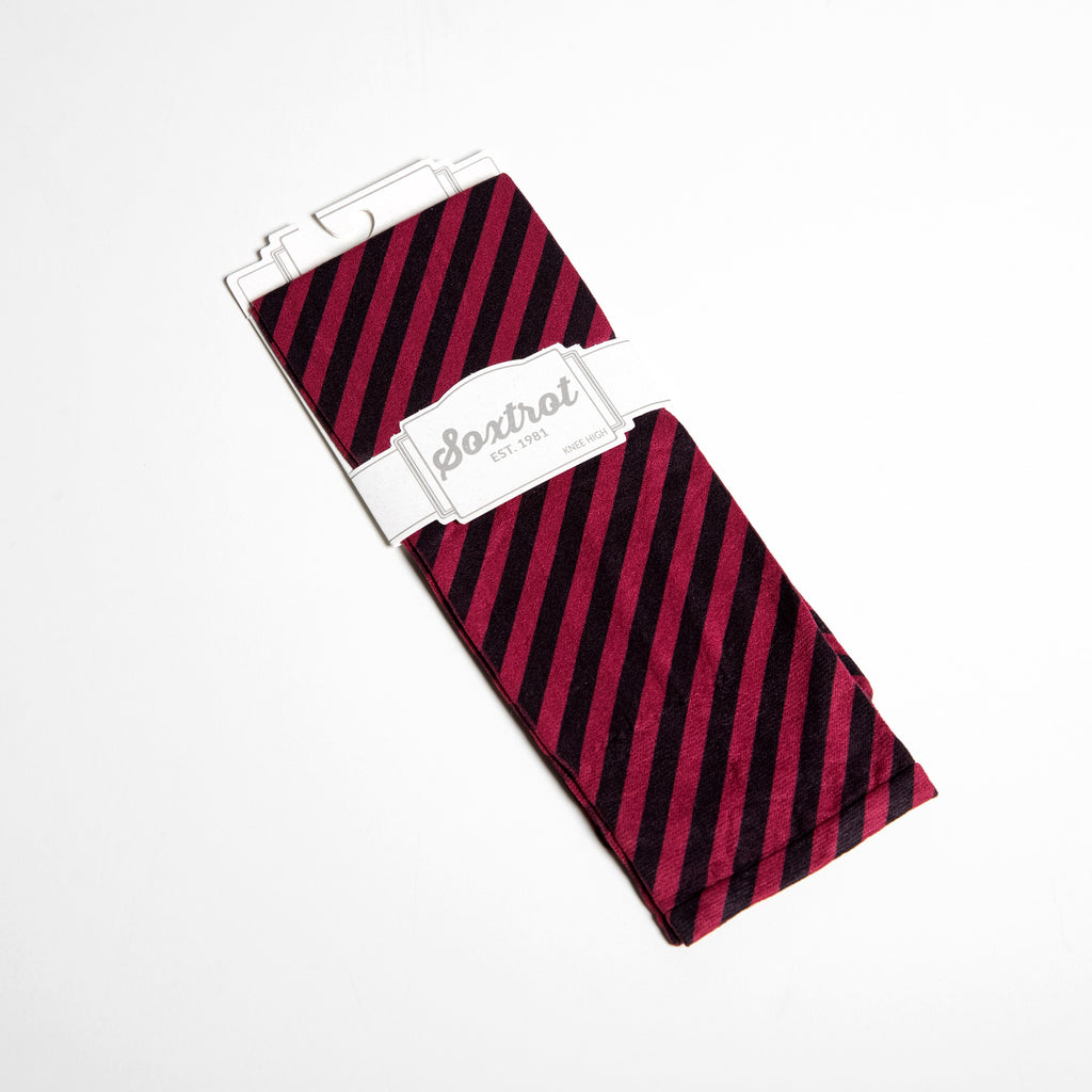 Soxtrot Cranberry Stripe Knee Highs
