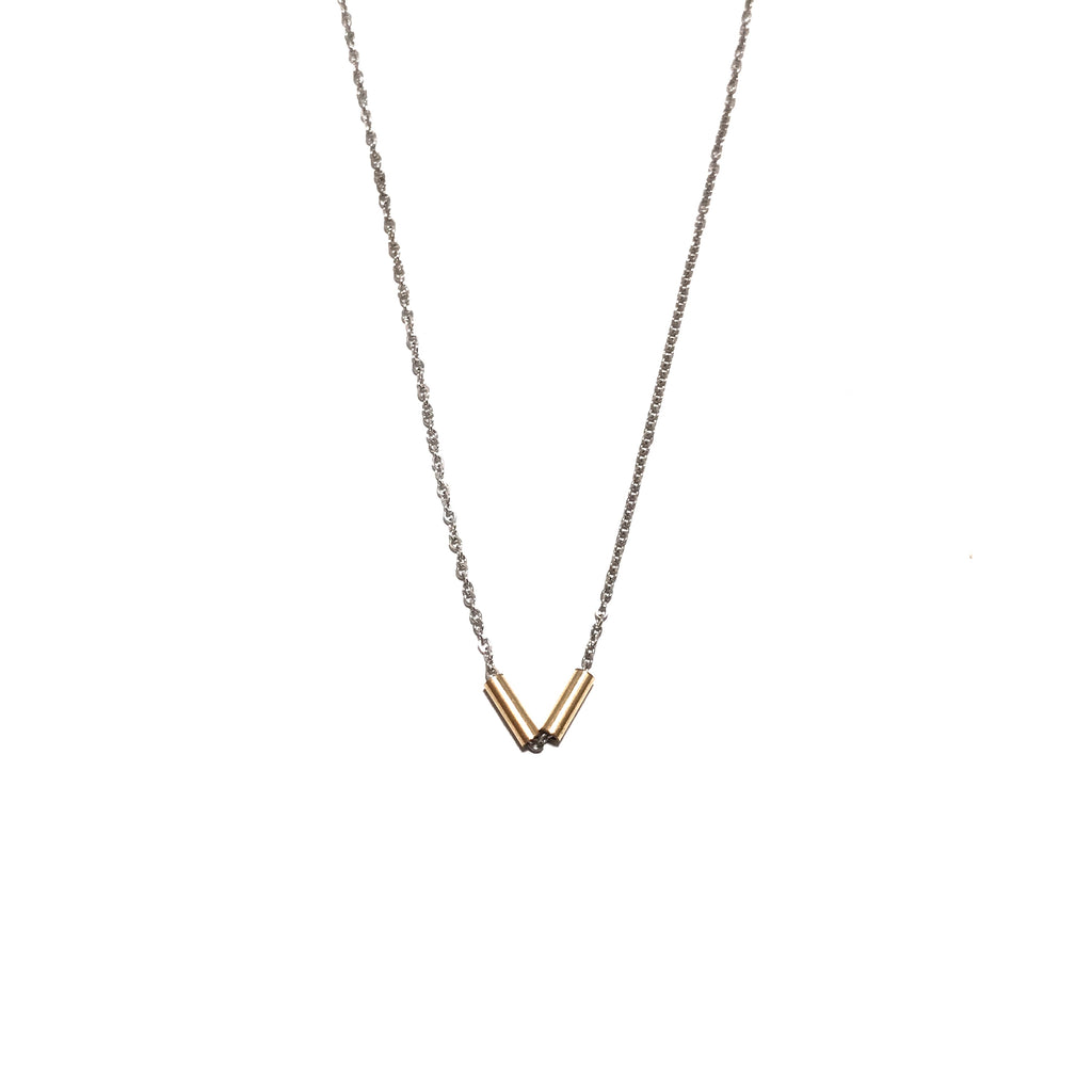 Something Blue Silver and Gold Minimal Necklace