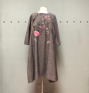 Peacock Ways Gray Floral Embroidered Dress/Tunic
