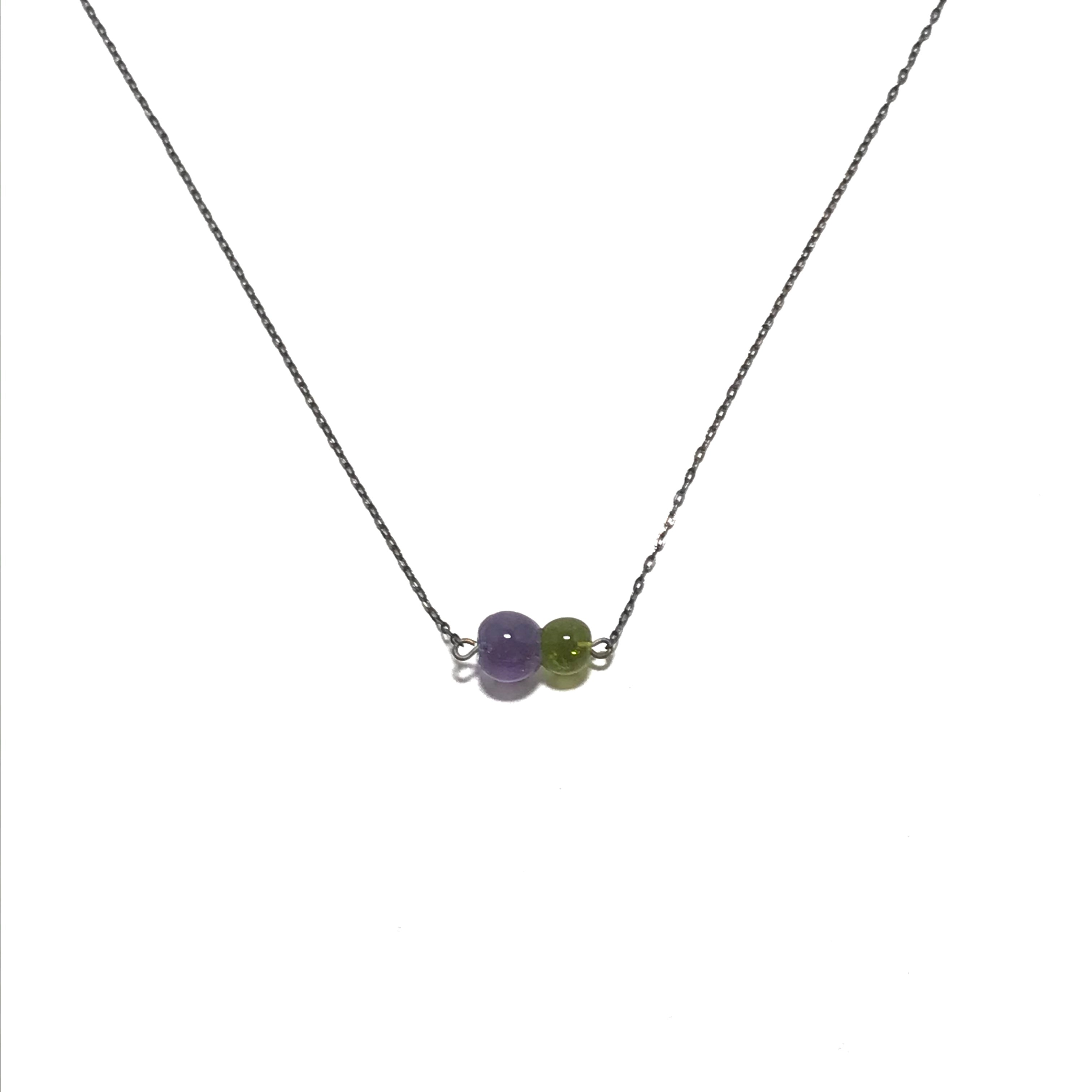 Krista Bermeo Horizontal Globe Necklace in Lavender and Lime