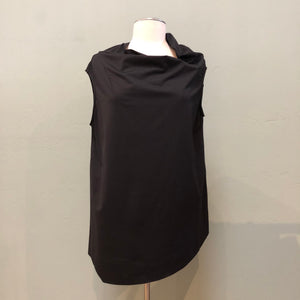 Elemente Clemente Black Micro fiber long sleeveless top with asymetrical neckline