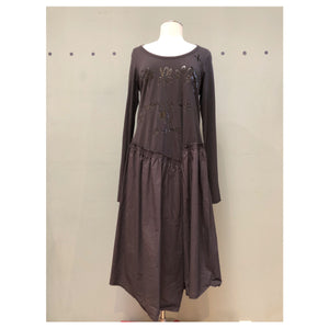 Rundholz Cotton and Jersey Lettered Dress