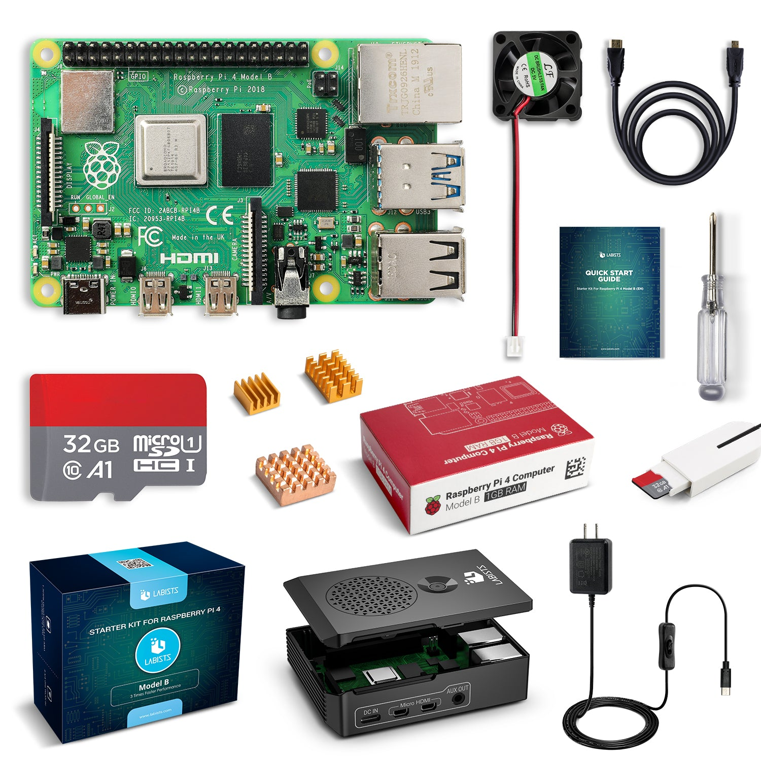 LABISTS Raspberry Pi 4 1GB RAM Board + 32GB Micro SD Card Complete Starter Kit (5.1V 3A Power Supply, Case, HDMI Cable, SD Card Reader, Fan, Heatsinks)