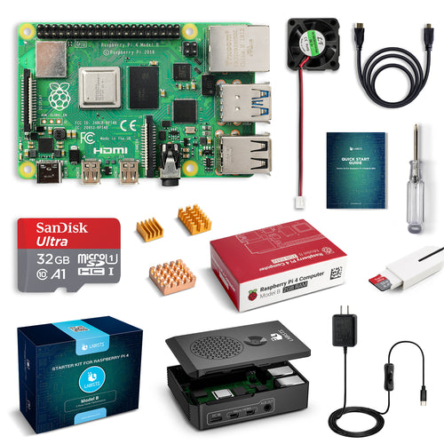 LABISTS Raspberry Pi 4 2GB RAM Board + 32GB Micro SD Card Complete Starter Kit (5.1V 3A Power Supply, Case, HDMI Cable, SD Card Reader, Fan, Heatsinks)