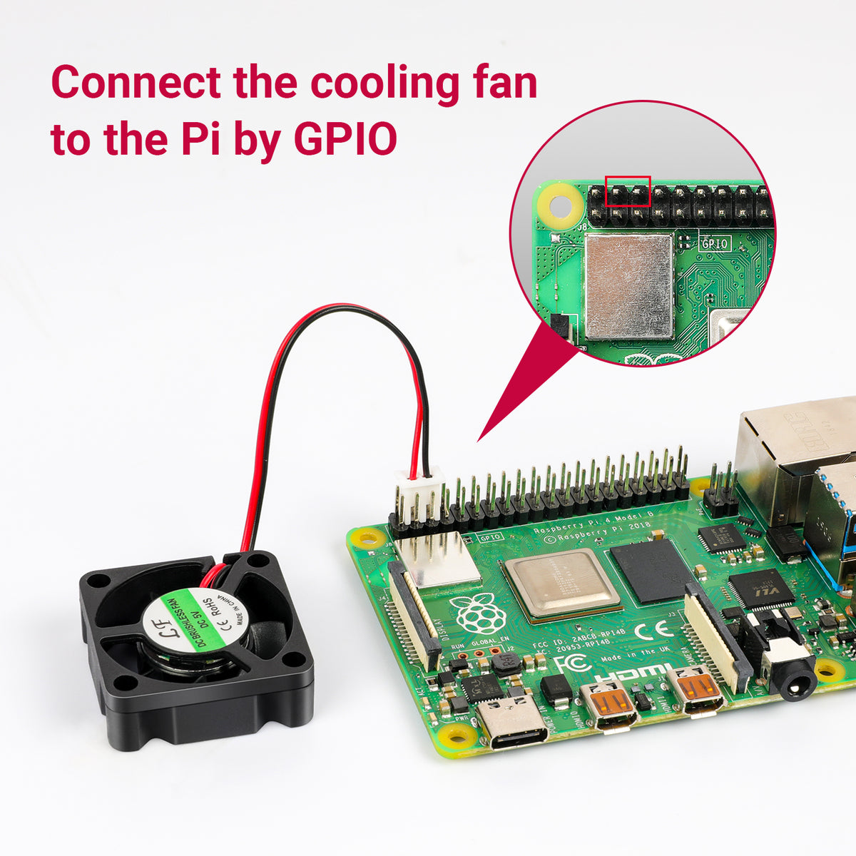Connect the cooling fan to the Pi by GPIO