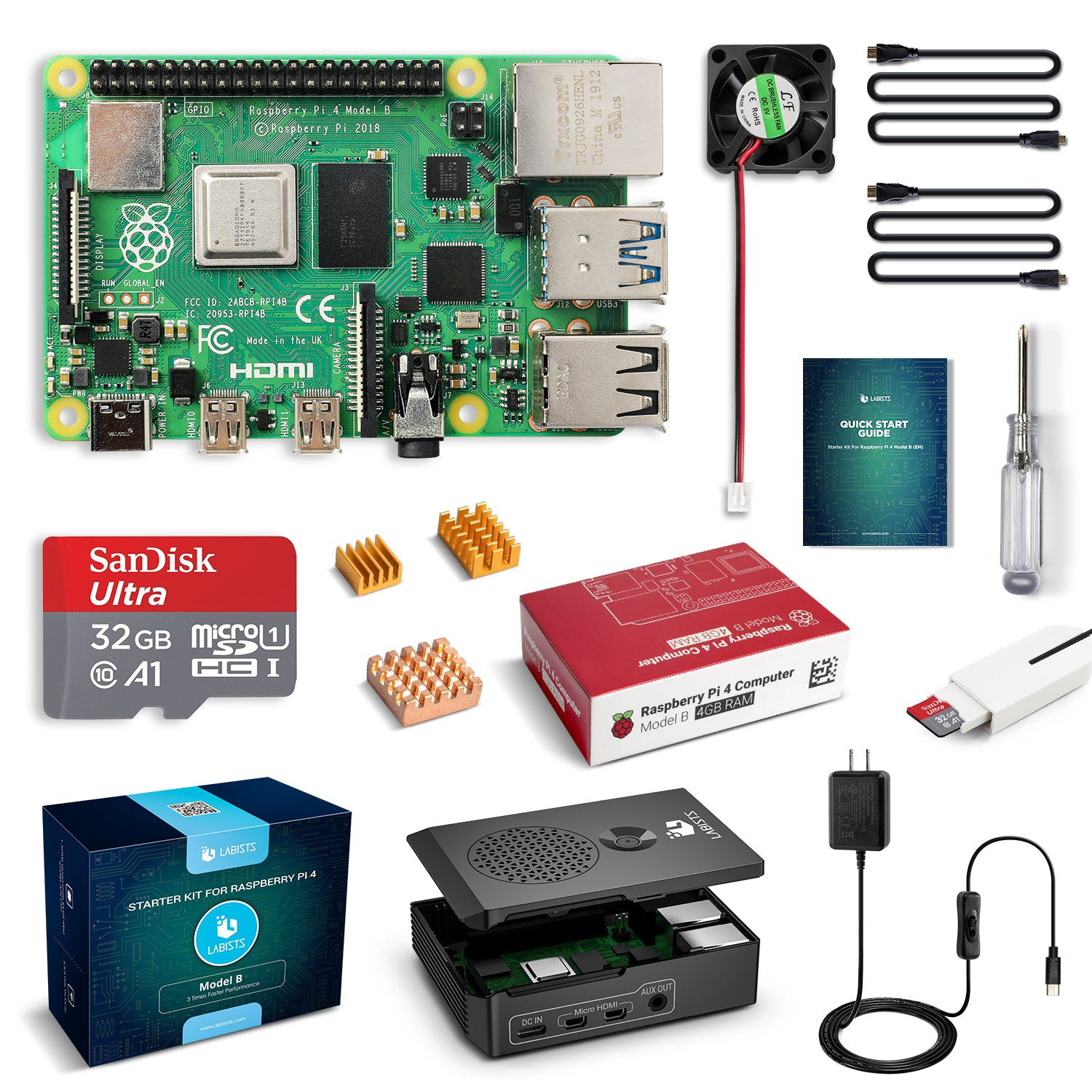 LABISTS Raspberry Pi 4 4GB Complete Starter Kit with 32GB Micro SD Card