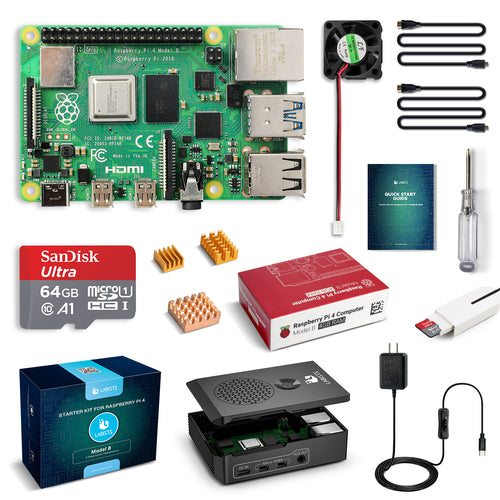 LABISTS Raspberry Pi 4 4GB RAM Board + 64GB Micro SD Card Complete Starter Kit (5.1V 3A Power Supply, Case, HDMI Cable, SD Card Reader, Fan, Heatsinks)