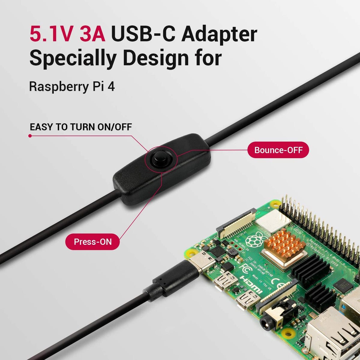 5.1V 3A USB-C Adapter