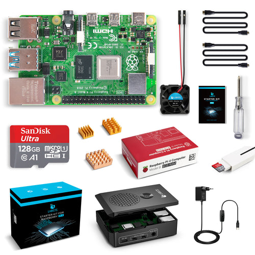 LABISTS Raspberry Pi 4 Model B 8GB RAM [Newest Released] Starter Kit with 128GB Micro SD Card Preloaded Raspberry Pi OS (Raspbian), Black Case, Fan, Micro HDMI Cable x 2, 5V 3A USB-C Power Supply