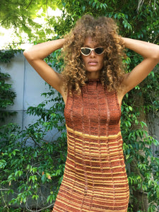 Shred Tank Dress Copper Stripes 1 off