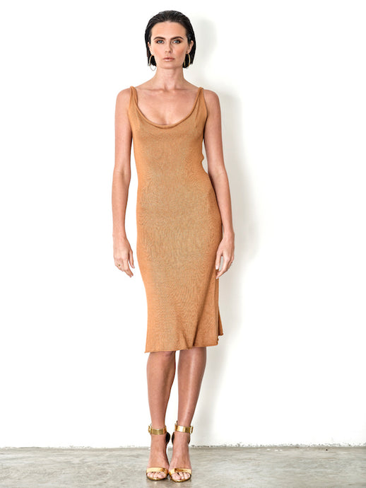 Bamboo Metallic Taupe Gold Knit Tank Dress