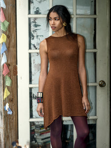 Brown Copper Short A-line Bamboo Knit Dress