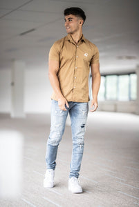 Men's Shortsleeve Shirt Beige