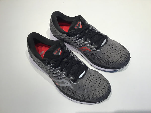 Mens Saucony Ride 13 Running Shoes  (Charcoal/Red)