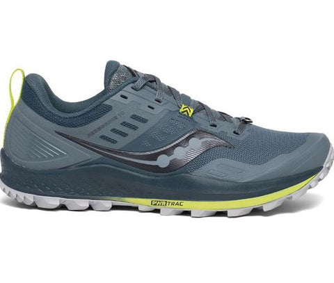 Men's Saucony Peregrine 10 Trail Running Shoes. Colour is Steel and Petrol blue