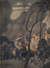N. C. Wyeth endpapers for Rip Van Winkle (1921): beautifully framed antique