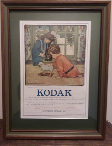 Rare, beautifully framed 1906 Kodak Camera advertisement by Elizabeth Shippen Green