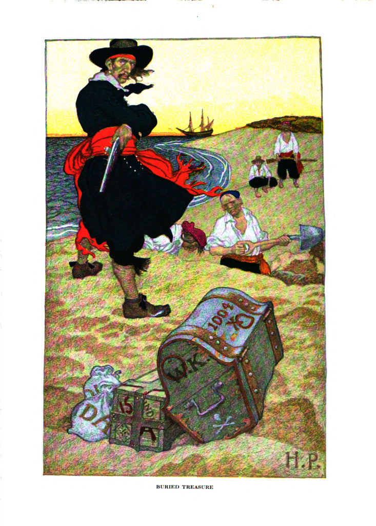 "Pirate illustration from ""Howard Pyle's Book of Pirates"" (1921): rare, beautifully framed antique"