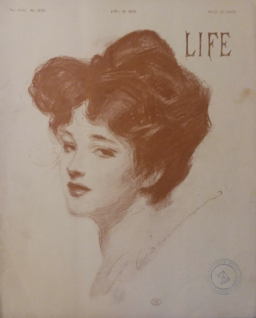 """Gibson Girl"" cover illustration for ""Life"" magazine (1908): rare, beautifully framed antique"