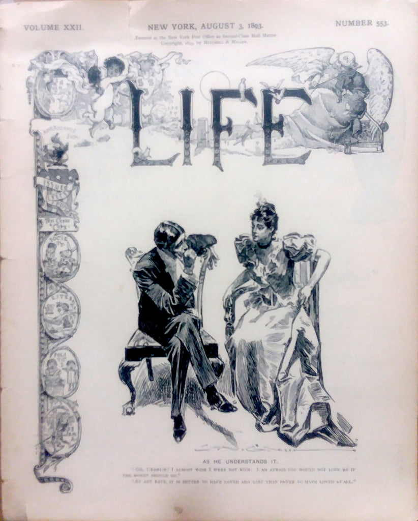 Charles Dana Gibson cover illustration for Life (August 3, 1893): a beautifully framed antique