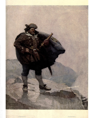 "Rare, beautifully framed 1911 book illustration from ""Treasure Island"" by N. C. Wyeth"