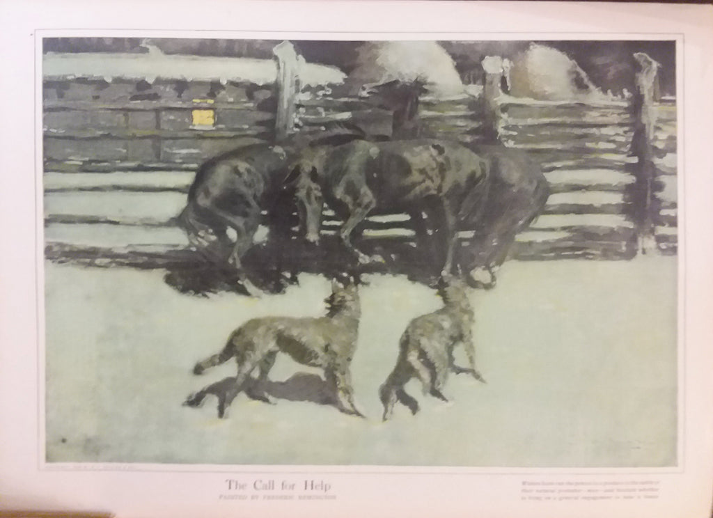 "Frederic Remington magazine illustration for ""Collier's Weekly"" (1910): rare, beautifully framed antique"