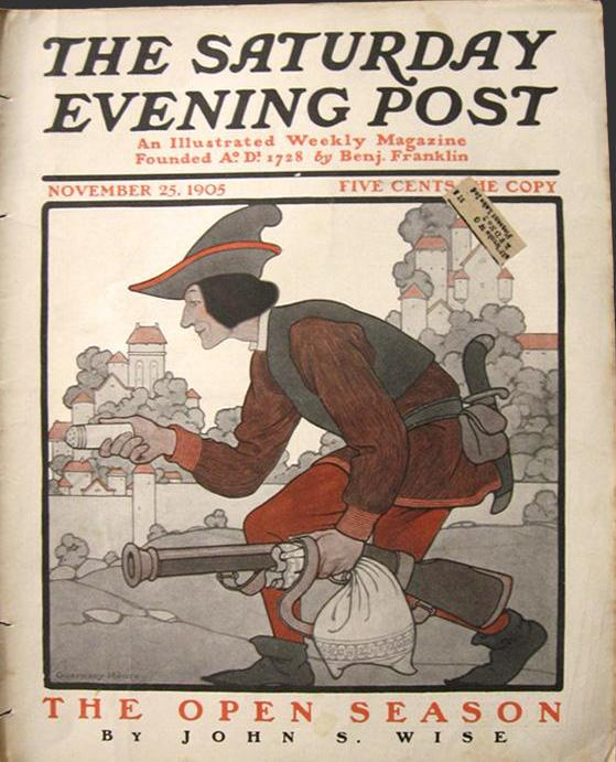 "Guernsey Moore cover illustration for ""The Saturday Evening Post"" (1905): rare, beautifully framed antique"