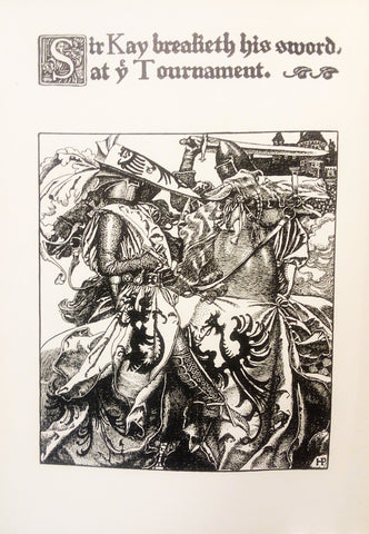 "Rare, beautifully framed 1903 book illustration from ""King Arthur and his Knights"" by Howard Pyle"