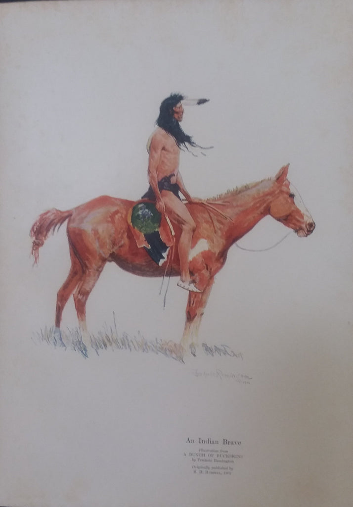 "Frederic Remington illustration from ""The Book of the American Indian"" (1923): rare, beautifully framed antique"