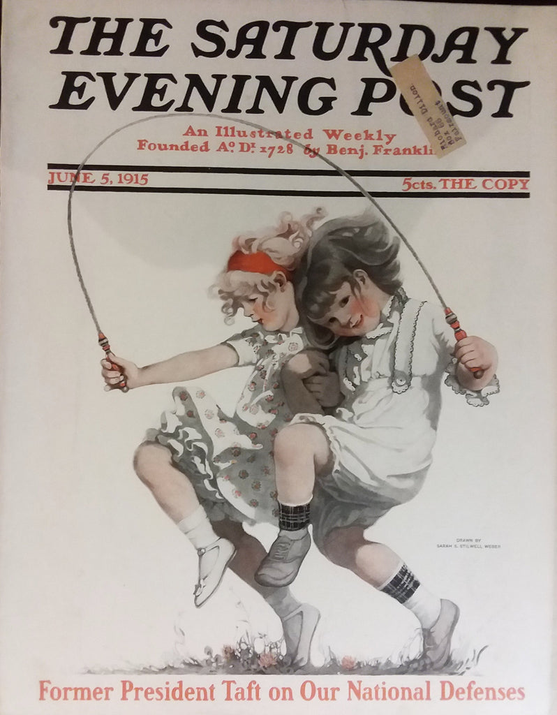 "Sarah Stilwell cover illustration for ""The Saturday Evening Post"" (1915): rare, beautifully framed antique"
