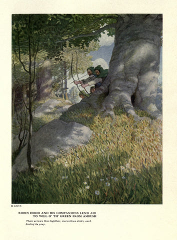 "Rare, beautifully framed 1917 book illustration from ""Robin Hood"" by N. C. Wyeth"