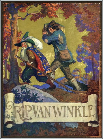 Rare, beautifully framed 1921 book cover illustration for Rip Van Winkle by N. C. Wyeth