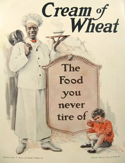 "Edward Brewer ""Cream of Wheat Advertisement"" with Rastus the Chef (1918): rare, beautifully framed antique"
