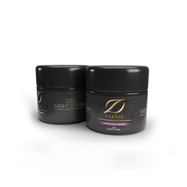 Zoetic 800mg CBD Night Cream 100ml- Jasmine & Lavender THC<0.2%