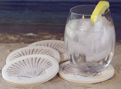 Moisture Absorbent Coasters - Scallop Shell