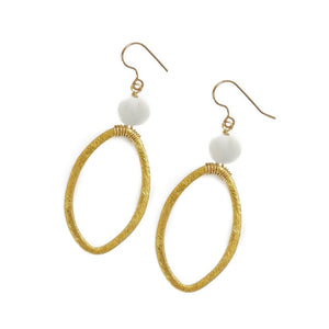 Earrings Gold Hoop with Clear Glass Bead