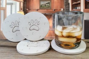 Moisture Absorbent Coasters - Dog Paw