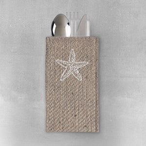 Silverware Pouch Starfish Set of 8