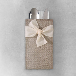Silverware Pouch Cream Bow Set of 8