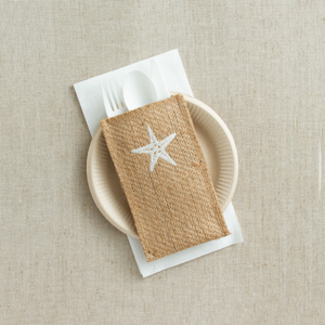 Silverware Pouch Embroidered Starfish Set of 8