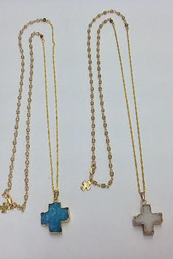 Blue Druzy Cross Necklace