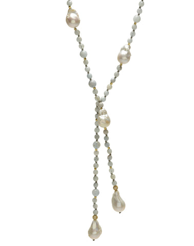 Aquamarine and Pearl Lariat Necklace